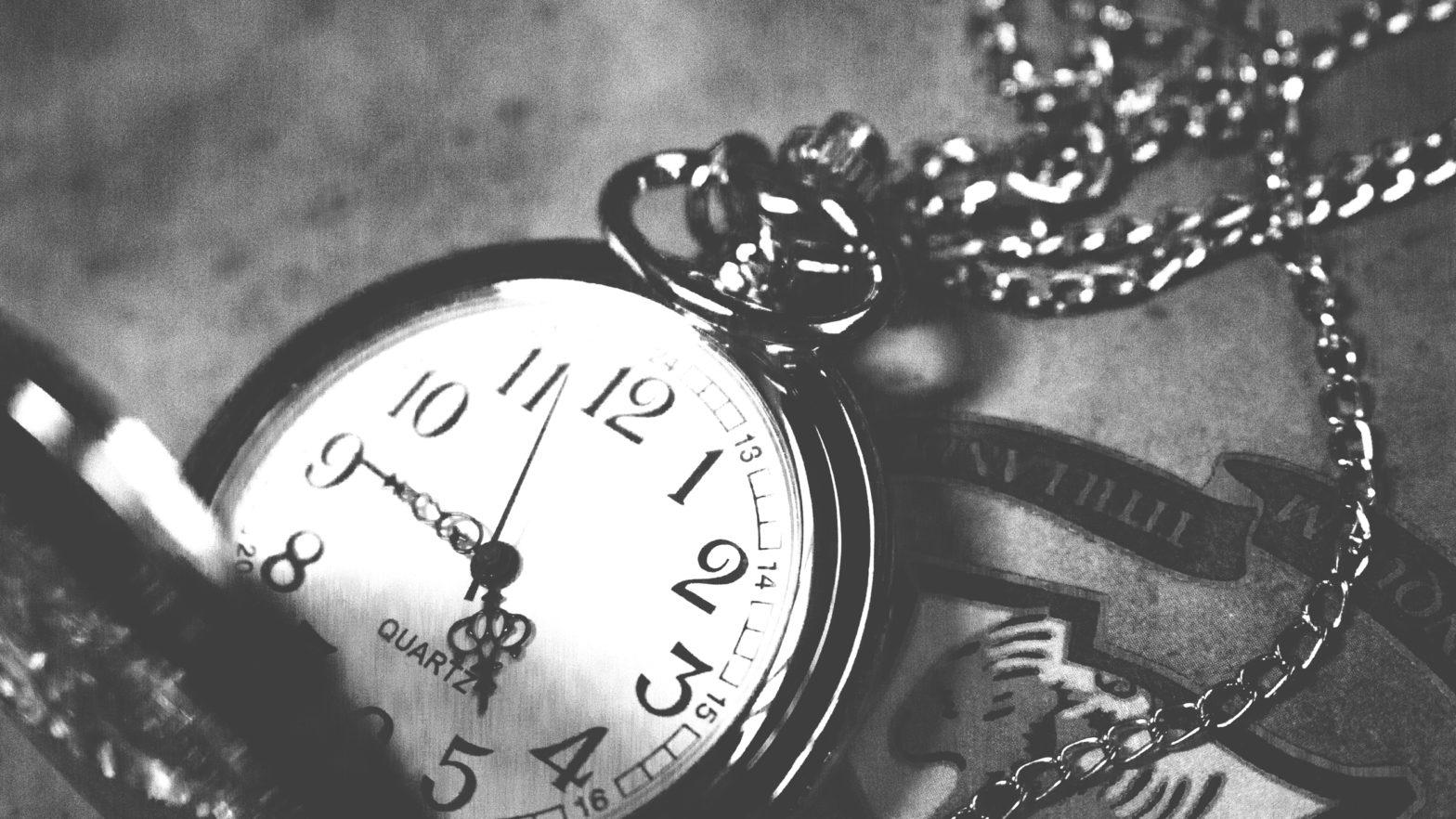 A pocket watch, open.